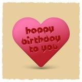 Wszystkiego najlepszego z okazji urodzin retro serce Zdjęcie Stock