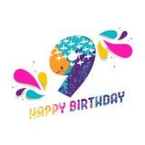 Wszystkiego najlepszego z okazji urodzin 9 rok papieru rżnięty kartka z pozdrowieniami Zdjęcia Stock