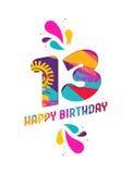 Wszystkiego najlepszego z okazji urodzin 13 rok papieru rżnięty kartka z pozdrowieniami Fotografia Stock