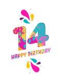 Wszystkiego najlepszego z okazji urodzin 14 rok papieru rżnięty kartka z pozdrowieniami Fotografia Royalty Free