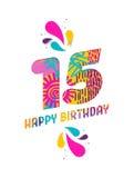 Wszystkiego najlepszego z okazji urodzin 15 rok papieru rżnięty kartka z pozdrowieniami Zdjęcia Stock