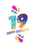 Wszystkiego najlepszego z okazji urodzin 19 rok papieru rżnięty kartka z pozdrowieniami Fotografia Royalty Free