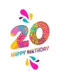 Wszystkiego najlepszego z okazji urodzin 20 rok papieru rżnięty kartka z pozdrowieniami Obrazy Royalty Free