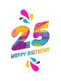Wszystkiego najlepszego z okazji urodzin 25 rok papieru rżnięty kartka z pozdrowieniami Obrazy Royalty Free