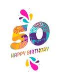 Wszystkiego najlepszego z okazji urodzin 50 rok papieru rżnięty kartka z pozdrowieniami Zdjęcie Royalty Free