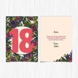 Wszystkiego najlepszego z okazji urodzin rok 18th kartka z pozdrowieniami Obraz Royalty Free