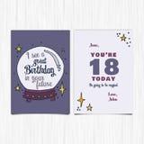 Wszystkiego najlepszego z okazji urodzin rok 18th kartka z pozdrowieniami Zdjęcia Royalty Free