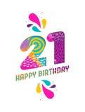 Wszystkiego najlepszego z okazji urodzin 21 roku papieru rżnięty kartka z pozdrowieniami Fotografia Stock