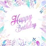 Wszystkiego Najlepszego Z Okazji Urodzin tła wektorowa ilustracja z akwarela stylem dla someone specjalny urodziny miękki koloru  fotografia stock