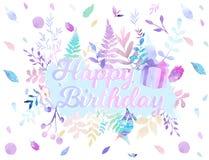 Wszystkiego Najlepszego Z Okazji Urodzin tła wektorowa ilustracja z akwarela stylem dla someone specjalny urodziny miękki koloru  zdjęcie stock