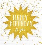 Wszystkiego najlepszego z okazji urodzin ty tekst wycena z złotymi partyjnymi confetti zdjęcia royalty free
