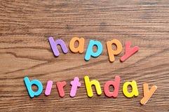 Wszystkiego najlepszego z okazji urodzin w kolorowych listach Zdjęcia Royalty Free