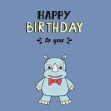 Wszystkiego Najlepszego Z Okazji Urodzin wektorowy literowanie, partyjna ilustracja z dziecko nosorożec ilustracja wektor