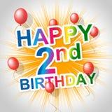 Wszystkiego Najlepszego Z Okazji Urodzin Wskazuje gratulowania 2Nd I Świętować Obrazy Stock
