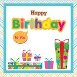 Wszystkiego najlepszego z okazji urodzin z kolorowym prezentem na kolorowym tle Zdjęcia Stock