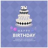 Wszystkiego najlepszego z okazji urodzin z Ostrym tortem i powitanie tekstem na miękkiego purpurowego Diamentowego tła wektorowym Fotografia Royalty Free