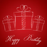 Wszystkiego najlepszego z okazji urodzin z prezenta pudełkiem na czerwonym tle 3d box gift image white Fotografia Stock
