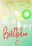 Wszystkiego najlepszego z okazji urodzin z wzorem kolorowi confetti i przejrzyści lotniczy ballons na błękitnym tle Handdrawn lit Obraz Stock