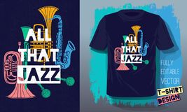 Wszystko że jazzowego literowanie sloganu nakreślenia stylu retro instrumenty muzyczni saksofony, trąbka, klarnet, puzon dla t ko ilustracji