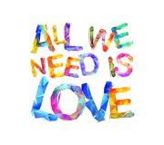 Wszystko potrzebujemy jest miłością Trójgraniaści listy Zdjęcia Royalty Free