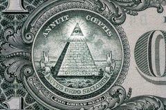wszystko przyglądają się widzieć Wolnomularski znak Kamieniarza symbol 1 jeden dolar zdjęcia stock