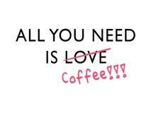 Wszystko ty potrzebujesz jest kawowy ilustracji