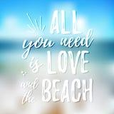 Wszystko ty potrzebujesz jest miłością i plażą - Projektuje element dla parapetówa plakata, koszulka projekt Wektorowa ręka rysuj royalty ilustracja