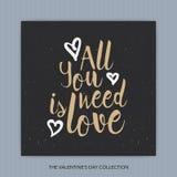 Wszystko ty potrzebujesz jest miłością - wręcza patroszonego literowanie Obraz Royalty Free