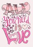 Wszystko ty potrzebujesz jest miłości plakatem Obraz Royalty Free