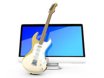 Wszystko w jeden komputerze z gitarą Obraz Stock