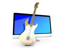 Wszystko w jeden komputerze z gitarą Obraz Royalty Free