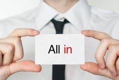 Wszystko Wewnątrz biznesowy biznesmena karty mienie Obraz Royalty Free