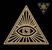 Wszystkowidzący oko lub opromieniona delta, - Wolnomularski symbol, symbolizuje Wielkiego architekta wszechświat, Zdjęcie Stock