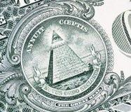 Wszystkowidzący oko na dolarze obraz stock