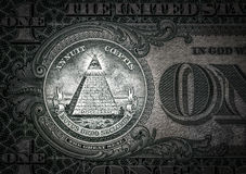 Wszystkowidzący oko na jeden dolarze nowy porządek świata elita charaktery dolar 1 fotografia royalty free