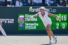 WTA:  Apr 08 Family Circle Cup. CHARESTON, SC - APR 08, 2011:  Elena Vesnina (RUS) plays against Samantha, Stosur (AUS) during the  Family Circle Tennis Center Stock Photos