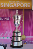 WTA Billie Jean King Championship Trophy on display at Billie Jean King National Tennis Center. NEW YORK - AUGUST 26: WTA Billie Jean King Championship Trophy on Stock Photo