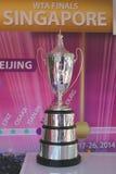 WTA Billie Jean King Championship Trophy na exposição em Billie Jean King National Tennis Center fotografia de stock