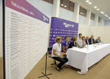 WTA Bucharest Open draw. WTA BRD Bucharest Open official main table draw held at BNR Arenas from Bucharest Stock Image