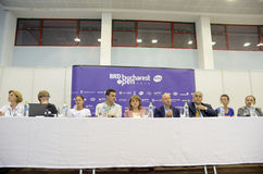 WTA Bucharest Open draw. Press conference held with the occasion of the WTA BRD Bucharest Open official main table draw held at BNR Arenas from Bucharest Stock Photo