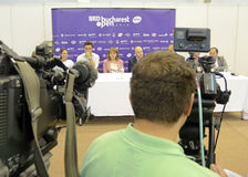 WTA Bucharest Open draw. Television cameras broadcasting the WTA BRD Bucharest Open official main table draw held at BNR Arenas from Bucharest Stock Photography