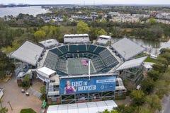 WTA: Ideias aéreas do 16 de março do estádio principal aberto do carro de Volvo fotografia de stock