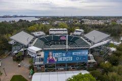 WTA: Ideias aéreas do 16 de março do estádio principal aberto do carro de Volvo foto de stock royalty free