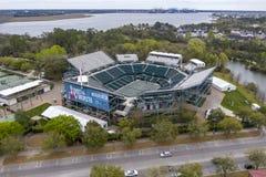 WTA: Maart 16 Satellietbeelden van het Volvo-Auto Open Belangrijkste Stadion stock afbeeldingen