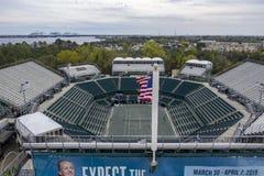 WTA: Maart 16 Satellietbeelden van het Volvo-Auto Open Belangrijkste Stadion stock afbeelding