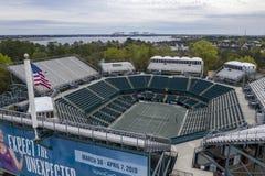 WTA: Maart 16 Satellietbeelden van het Volvo-Auto Open Belangrijkste Stadion stock foto