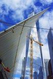 WTC运输插孔翼细节和自由耸立 免版税库存照片