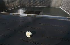 WTC,全国9月11日纪念品,纽约,纽约,美国符号玫瑰色和瀑布脚印  免版税库存图片