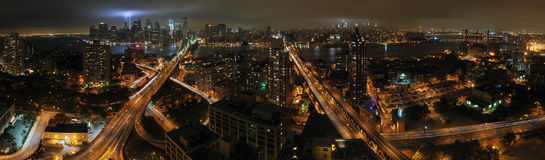 WTC 9/11 Panorama of Brooklyn & Manhattan. This photo is taken from Brooklyn of the Tribute in Light on September 11th, 2011.  This also includes the Brooklyn Royalty Free Stock Images