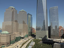 World Trade Center, WTC, Freedom Tower and Financial District, NYC. One World Trade Center,in center, surrounded by buildings comprising the Financial District Royalty Free Stock Photos